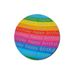 Colorful Happy Birthday Wallpaper Rubber Coaster (Round)