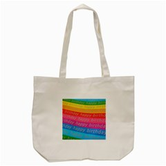 Colorful Happy Birthday Wallpaper Tote Bag (cream) by Simbadda
