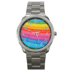Colorful Happy Birthday Wallpaper Sport Metal Watch by Simbadda