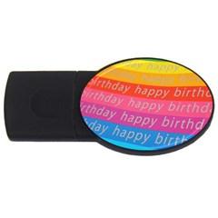 Colorful Happy Birthday Wallpaper USB Flash Drive Oval (4 GB)
