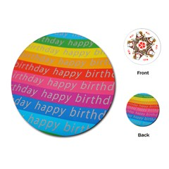 Colorful Happy Birthday Wallpaper Playing Cards (round)  by Simbadda