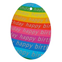 Colorful Happy Birthday Wallpaper Oval Ornament (Two Sides)