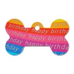Colorful Happy Birthday Wallpaper Dog Tag Bone (One Side)