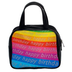 Colorful Happy Birthday Wallpaper Classic Handbags (2 Sides) by Simbadda