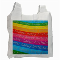 Colorful Happy Birthday Wallpaper Recycle Bag (Two Side)