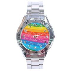 Colorful Happy Birthday Wallpaper Stainless Steel Analogue Watch