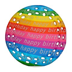 Colorful Happy Birthday Wallpaper Round Filigree Ornament (Two Sides)