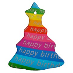 Colorful Happy Birthday Wallpaper Christmas Tree Ornament (Two Sides)