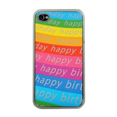 Colorful Happy Birthday Wallpaper Apple iPhone 4 Case (Clear)