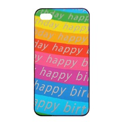 Colorful Happy Birthday Wallpaper Apple iPhone 4/4s Seamless Case (Black)