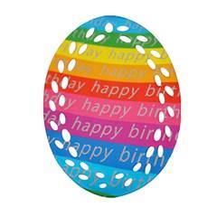 Colorful Happy Birthday Wallpaper Ornament (Oval Filigree)
