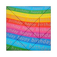 Colorful Happy Birthday Wallpaper Acrylic Tangram Puzzle (6  X 6 ) by Simbadda