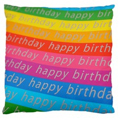 Colorful Happy Birthday Wallpaper Large Cushion Case (Two Sides)