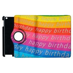 Colorful Happy Birthday Wallpaper Apple iPad 3/4 Flip 360 Case