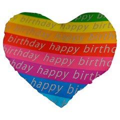 Colorful Happy Birthday Wallpaper Large 19  Premium Heart Shape Cushions by Simbadda
