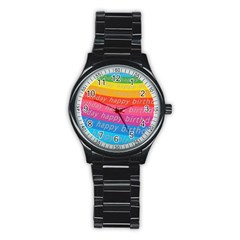 Colorful Happy Birthday Wallpaper Stainless Steel Round Watch by Simbadda