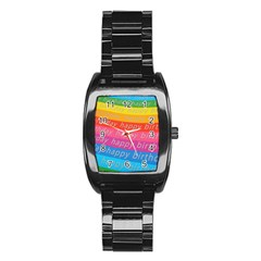 Colorful Happy Birthday Wallpaper Stainless Steel Barrel Watch