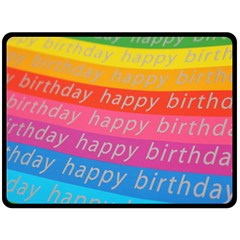 Colorful Happy Birthday Wallpaper Double Sided Fleece Blanket (Large)