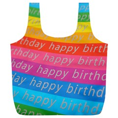 Colorful Happy Birthday Wallpaper Full Print Recycle Bags (L)