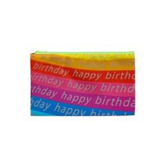 Colorful Happy Birthday Wallpaper Cosmetic Bag (xs) by Simbadda