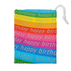 Colorful Happy Birthday Wallpaper Drawstring Pouches (Extra Large)