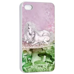 Wonderful Unicorn With Foal On A Mushroom Apple Iphone 4/4s Seamless Case (white) by FantasyWorld7