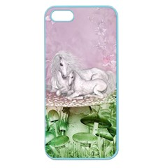 Wonderful Unicorn With Foal On A Mushroom Apple Seamless Iphone 5 Case (color) by FantasyWorld7