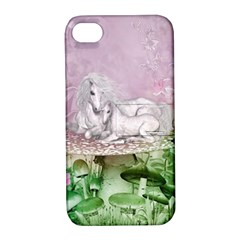 Wonderful Unicorn With Foal On A Mushroom Apple Iphone 4/4s Hardshell Case With Stand by FantasyWorld7