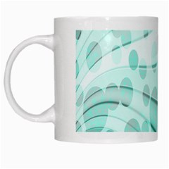 Abstract Background Teal Bubbles Abstract Background Of Waves Curves And Bubbles In Teal Green White Mugs by Simbadda