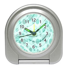 Abstract Background Teal Bubbles Abstract Background Of Waves Curves And Bubbles In Teal Green Travel Alarm Clocks by Simbadda