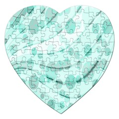 Abstract Background Teal Bubbles Abstract Background Of Waves Curves And Bubbles In Teal Green Jigsaw Puzzle (heart) by Simbadda