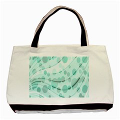 Abstract Background Teal Bubbles Abstract Background Of Waves Curves And Bubbles In Teal Green Basic Tote Bag by Simbadda