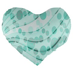 Abstract Background Teal Bubbles Abstract Background Of Waves Curves And Bubbles In Teal Green Large 19  Premium Heart Shape Cushions by Simbadda