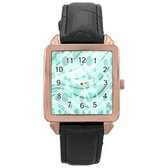 Abstract Background Teal Bubbles Abstract Background Of Waves Curves And Bubbles In Teal Green Rose Gold Leather Watch  by Simbadda