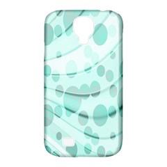 Abstract Background Teal Bubbles Abstract Background Of Waves Curves And Bubbles In Teal Green Samsung Galaxy S4 Classic Hardshell Case (pc+silicone) by Simbadda