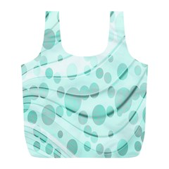 Abstract Background Teal Bubbles Abstract Background Of Waves Curves And Bubbles In Teal Green Full Print Recycle Bags (l)