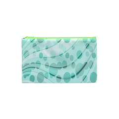 Abstract Background Teal Bubbles Abstract Background Of Waves Curves And Bubbles In Teal Green Cosmetic Bag (xs) by Simbadda