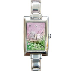 Wonderful Unicorn With Foal On A Mushroom Rectangle Italian Charm Watch by FantasyWorld7