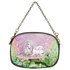 Wonderful Unicorn With Foal On A Mushroom Chain Purses (two Sides)  by FantasyWorld7