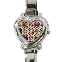 Abstract Seamless Background Pattern Heart Italian Charm Watch by Simbadda