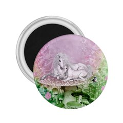 Wonderful Unicorn With Foal On A Mushroom 2 25  Magnets by FantasyWorld7