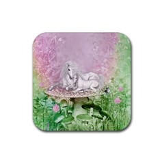Wonderful Unicorn With Foal On A Mushroom Rubber Coaster (square)  by FantasyWorld7