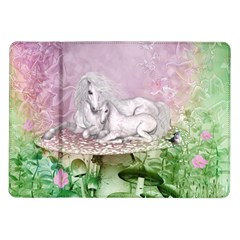 Wonderful Unicorn With Foal On A Mushroom Samsung Galaxy Tab 10 1  P7500 Flip Case by FantasyWorld7