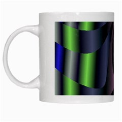 Fractal In Purple Gold And Green White Mugs by Simbadda