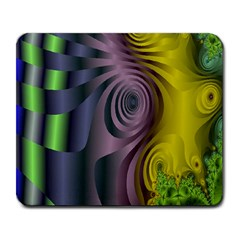 Fractal In Purple Gold And Green Large Mousepads by Simbadda