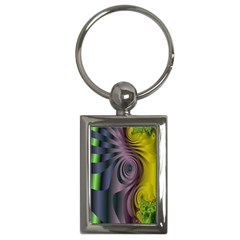 Fractal In Purple Gold And Green Key Chains (rectangle)