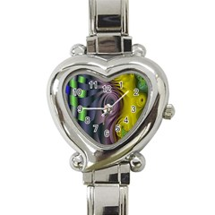 Fractal In Purple Gold And Green Heart Italian Charm Watch by Simbadda