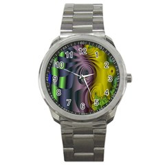 Fractal In Purple Gold And Green Sport Metal Watch by Simbadda