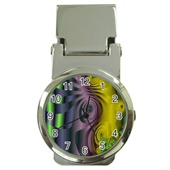 Fractal In Purple Gold And Green Money Clip Watches by Simbadda