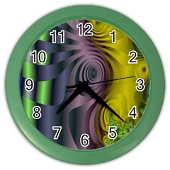 Fractal In Purple Gold And Green Color Wall Clocks by Simbadda